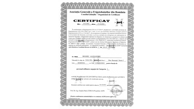 Certificat AGFR
